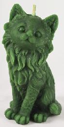 Świeca z wosku zielony kot