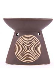 Ceramiczny kominek z grawerowaną spiralą - brązowy