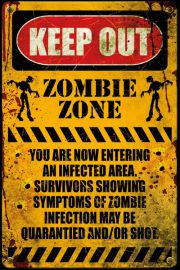 Strefa Zombie - zabawny plakat