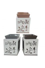 Drewniany świecznik olejowy z ceramiczną podstawką - Sen