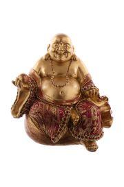 Siedzący na pieniądzach chiński budda - czerwono-złoty