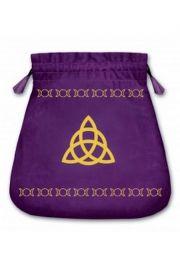 Aksamitny woreczek z symbolem węzła (na karty tarota)