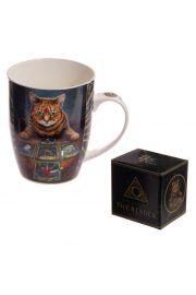 Kubek ceramiczny, kot tarocista