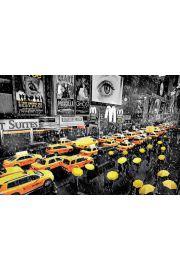 Nowy Jork Żółte Parasole i Taksówki - plakat