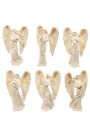 Kremowa figurka stojącego anioła 23cm