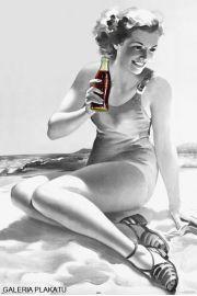 Coca-Cola Spragniona Dziewczyna na Plaży - retro plakat
