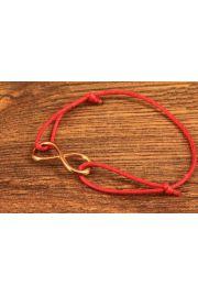 Bransoletka Znak nieskończoności metal złoto czerwony sznurek
