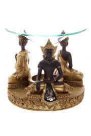 Złoto-brązowy tajski Budda ze szklaną mozaiką - podstawka na świ