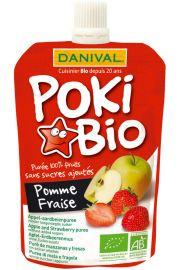 Poki - Przecier Jabłkowo-Truskawkowy 100% Owoców Bez Dodatku Cukrów Bio 90 G - Danival