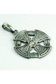 Krzyż celtycki - okrągły, posrebrzany (M)