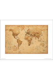 Mapa Świata Antique Style - art print