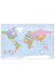Polityczna Mapa Świata Miller Projection - plakat