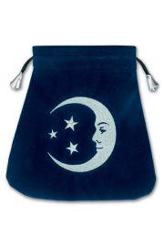 Aksamitny woreczek z uśmiechniętym Księżycem (na karty tarota)