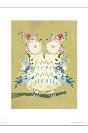 Sówka Owl Floral - art print