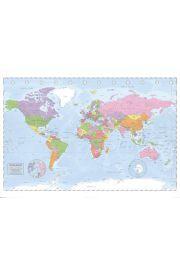 Polityczna Mapa Świata (Miller Projection) - plakat