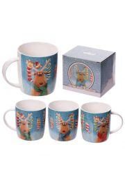 Kubek porcelanowy Świąteczny Renifer - Jan Pashley