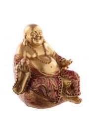Siedzący chiński budda - mały, czerwono-złoty