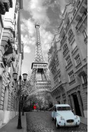 Paryż Wieża Eiffla Red Girl Blue Car - plakat