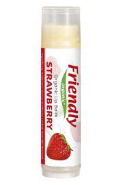 Friendly Organic, Organiczny balsam do ust, truskawkowy, 4,25g