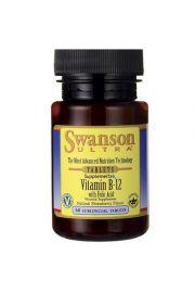 Swanson Witamina B12 1000ug & Kwas foliowy 400ug 60 tabletek do ssania