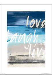 Abstract Beach Love Laugh Live - art print