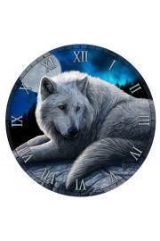 Zegar ścienny, wilk przy pełni Książyca