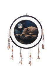 Indiański łapacz snów z nadrukiem śpiącego wilka - 61cm