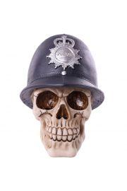 Ozdobna czaszka w czapce policyjnej