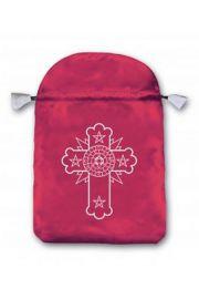 Satynowy woreczek z symbolem Różokrzyżowców (na karty tarota)