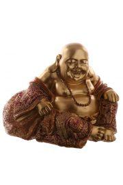 Siedz�cy chi�ski Budda z r�k� na kolanie - czerwie� i z�oto