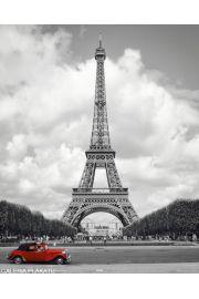 Paryż Wieża Eiffla - Czerwony Samochód - plakat