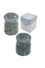 Ceramiczny podgrzewacz z różą i motylami