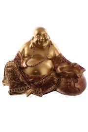 Siedzący chiński budda z podgrzewaczem - czerwono-złoty