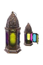 Maroka�ski Sze�ciok�tny Lampion z Metalu i Szk�a