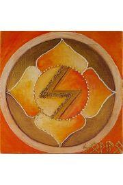 Runa Sowilo malowana na drewnie sosnowym