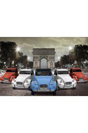 Paryż Łuk Triumfalny Stare Citroeny - plakat