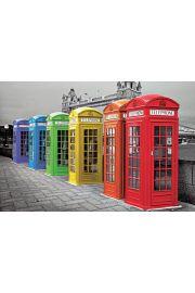 Londyn Kolorowe Budki Telefoniczne - plakat