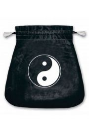 Aksamitny woreczek z symbolem jing jang (na karty tarota)