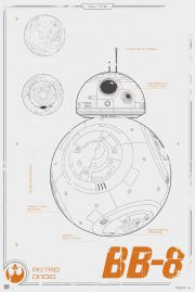 Star Wars Gwiezdne Wojny Przebudzenie Mocy BB-8 Schemat Budowy - plakat