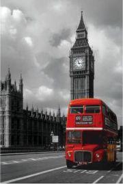 Londyn Czerwony Autobus na tle Big Ben - plakat