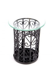 Ażurowy lampion, kominek ze szklaną miseczką