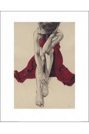 Kobieta w czerwonej sukni - reprodukcja