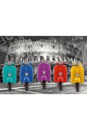 Kolorowe Skutery Vespa - Rzym Koloseum - plakat