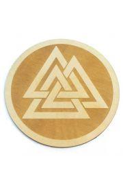 Podstawka z symbolem Valknut, drewniana