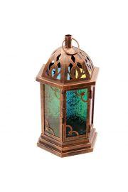 Lampion w stylu maroka�skim z kolorowym szk�em