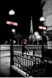 Paryż Wieża Eiffla - Pocałunek Zakochanych przy Metrze - plakat