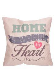 Poduszka z juty - Home is Where my Heart is 43 x 43cm
