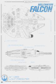 Star Wars Gwiezdne Wojny Przebudzenie Mocy Sok� Millenium Schemat Budowy - plakat