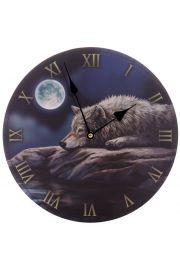 Zegar ścienny z z wilkiem leżącym na tle księżyca - Projekt Lisa