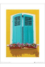 Jean-Marc Janiaczyk Blue Shutters Flowerbox - art print